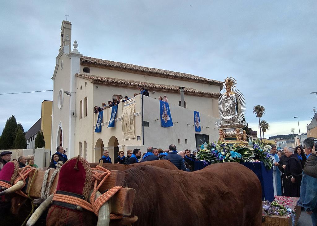 Centenars de persones acompanyen la imatge de la Puríssima fins a l'ermita de Sant Josep del Pla El Periòdic d'Ontinyent