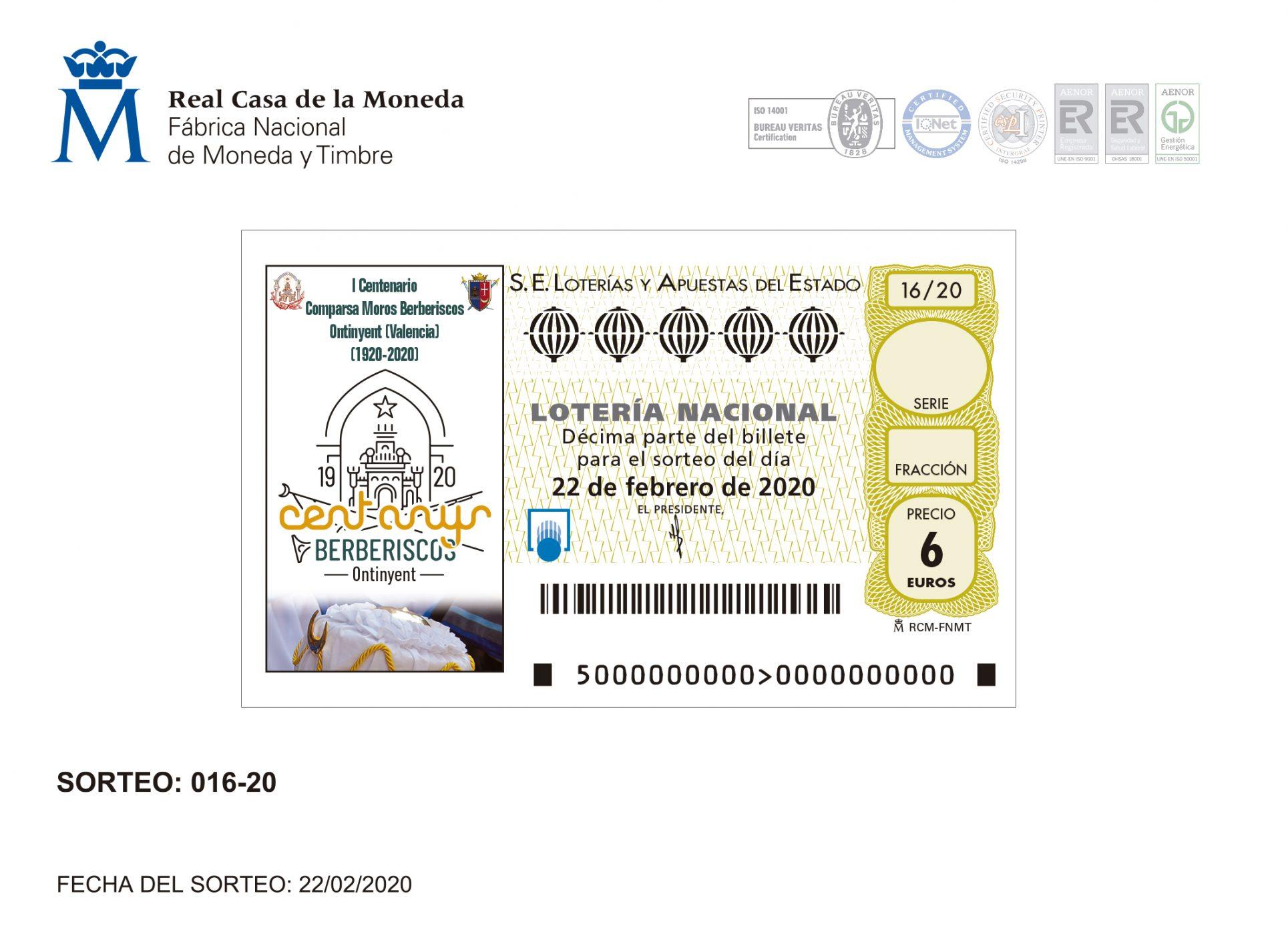 Els Berberiscos seran imatge de la Loteria El Periòdic d'Ontinyent