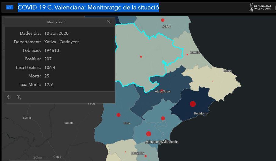 Conselleria actualitza a 25 morts i 207 contagiats a Xàtiva-Ontinyent El Periòdic d'Ontinyent